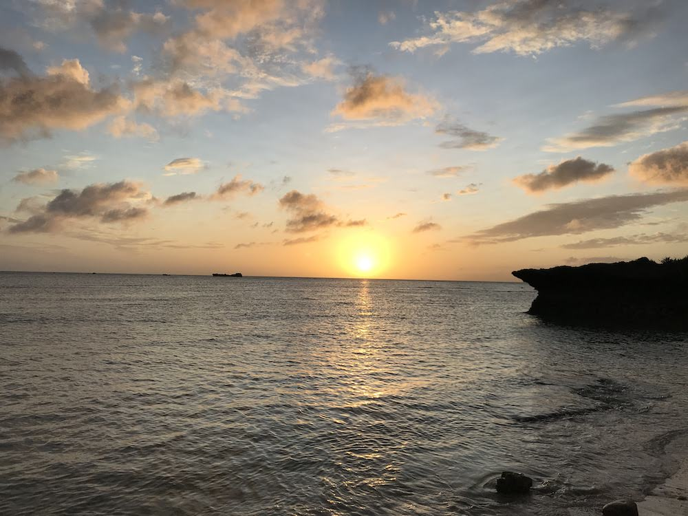 Beautiful sunset near Zanpa Beach in Okinawa